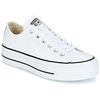 kengät Naiset Matalavartiset tennarit Converse CHUCK TAYLOR ALL STAR LIFT CLEAN OX LEATHER Valkoinen