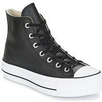 kengät Naiset Korkeavartiset tennarit Converse CHUCK TAYLOR ALL STAR LIFT CLEAN LEATHER HI Black