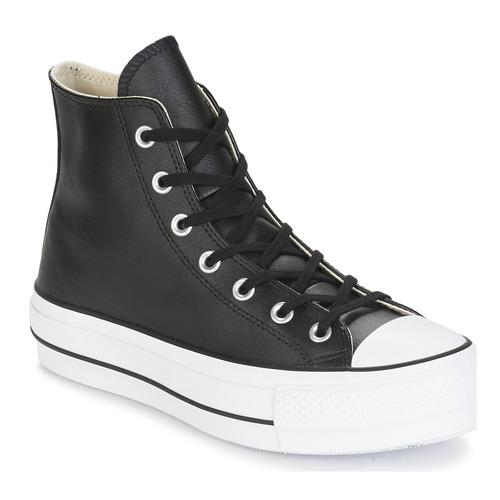 kengät Naiset Korkeavartiset tennarit Converse CHUCK TAYLOR ALL STAR LIFT  CLEAN LEATHER HI Black 1da9de623b
