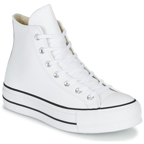 kengät Naiset Korkeavartiset tennarit Converse CHUCK TAYLOR ALL STAR LIFT CLEAN LEATHER HI White