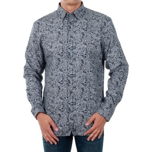 vaatteet Miehet Pitkähihainen paitapusero Jack & Jones 12141868 JPRANTONIO SHIRT L/S LTD NAVY BLAZER/WHITE FL Azul marino