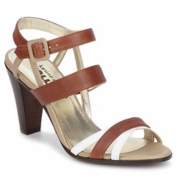 kengät Naiset Sandaalit ja avokkaat Karine Arabian JOLLY Cognac / Beige / White