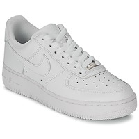 kengät Naiset Matalavartiset tennarit Nike AIR FORCE 1 07 LEATHER W White