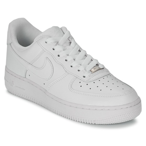 kengät Naiset Matalavartiset tennarit Nike AIR FORCE 1 07 LEATHER W White 50afca2b4d