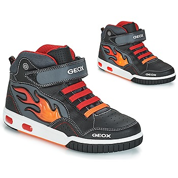 kengät Pojat Korkeavartiset tennarit Geox JR GREGG Black / Red