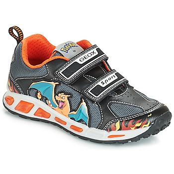 kengät Pojat Matalavartiset tennarit Geox J SHUTTLE BOY Black / Orange