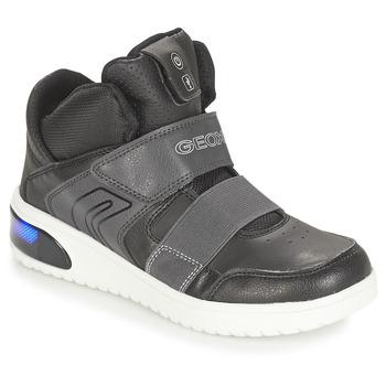 kengät Pojat Korkeavartiset tennarit Geox J XLED BOY Black