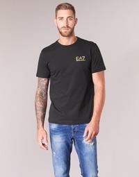 vaatteet Miehet Lyhythihainen t-paita Emporio Armani EA7 JAZKY Black / Kulta