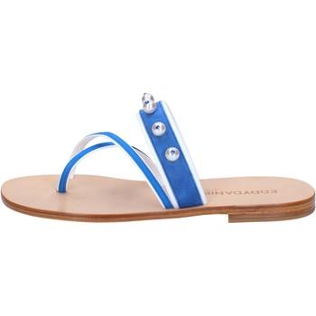 kengät Naiset Sandaalit ja avokkaat Eddy Daniele sandali blu camoscio bianco pelle swarovski aw06 Bianco