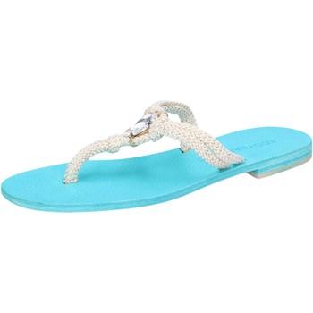 kengät Naiset Sandaalit ja avokkaat Eddy Daniele sandali bianco corda celeste swarovski aw509 Bianco