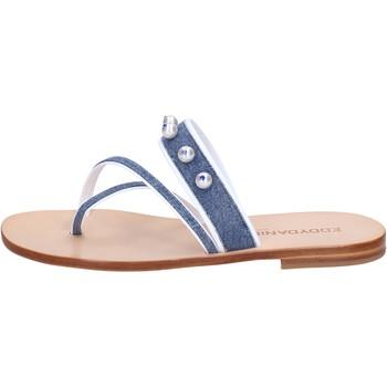 kengät Naiset Sandaalit ja avokkaat Eddy Daniele sandali blu jeans bianco pelle swarovski aw229 Blu