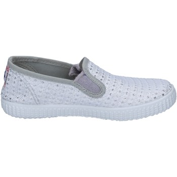 kengät Naiset Tennarit Cienta slip on bianco tessuto argento profumate BX350 Bianco