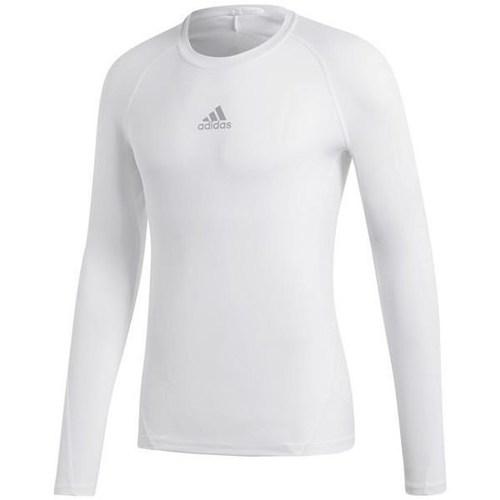 vaatteet Miehet T-paidat pitkillä hihoilla adidas Originals Alphaskin Sport LS Valkoiset