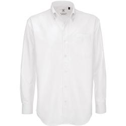 vaatteet Miehet Pitkähihainen paitapusero B And C SMO01 White
