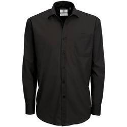 vaatteet Miehet Pitkähihainen paitapusero B And C SMP61 Black