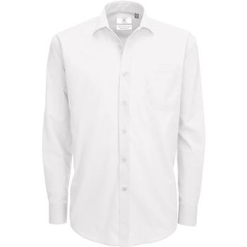 vaatteet Miehet Pitkähihainen paitapusero B And C SMP61 White