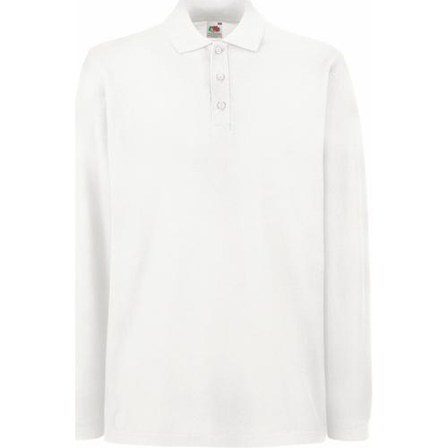 vaatteet Miehet Pitkähihainen poolopaita Fruit Of The Loom 63310 White