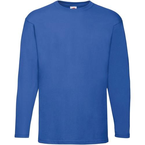vaatteet Miehet T-paidat pitkillä hihoilla Fruit Of The Loom 61038 Royal