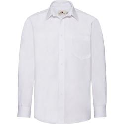 vaatteet Miehet Pitkähihainen paitapusero Fruit Of The Loom 65118 White