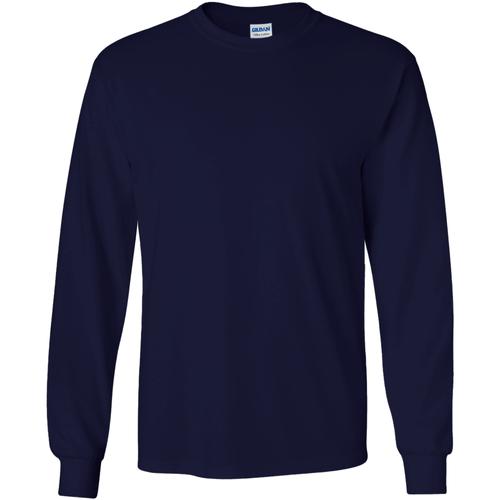 vaatteet Miehet T-paidat pitkillä hihoilla Gildan 2400 Navy