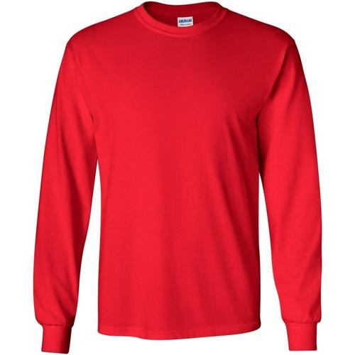 vaatteet Miehet T-paidat pitkillä hihoilla Gildan 2400 Red