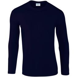 vaatteet Miehet T-paidat pitkillä hihoilla Gildan 64400 Navy