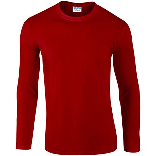vaatteet Miehet T-paidat pitkillä hihoilla Gildan 64400 Red