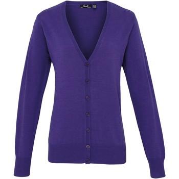 vaatteet Naiset Neuleet / Villatakit Premier Button Through Purple