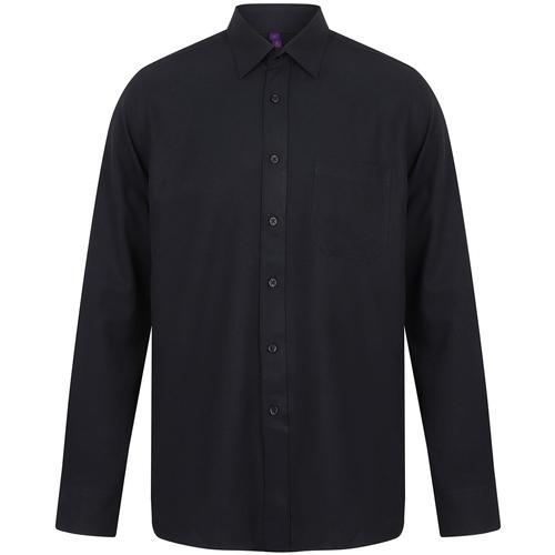 vaatteet Miehet Pitkähihainen paitapusero Henbury HB590 Navy