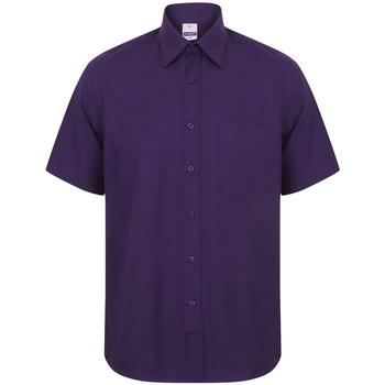 vaatteet Miehet Lyhythihainen paitapusero Henbury HB595 Purple