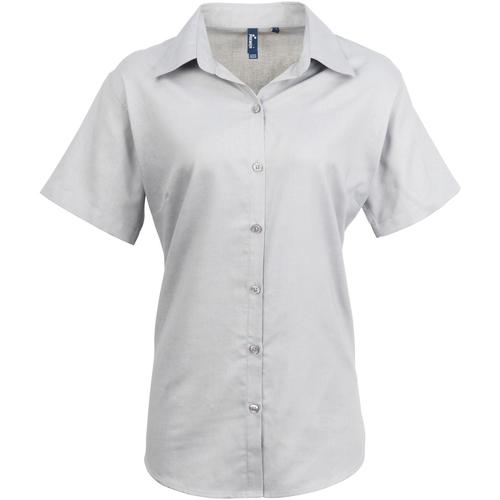 vaatteet Naiset Paitapusero / Kauluspaita Premier PR336 Silver