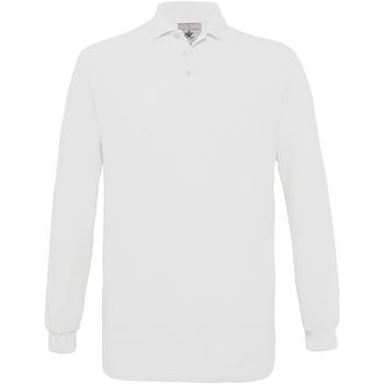 vaatteet Miehet Pitkähihainen poolopaita B And C PU414 White