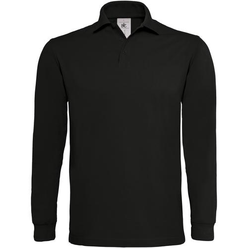 vaatteet Miehet Pitkähihainen poolopaita B And C PU423 Black