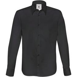 vaatteet Miehet Pitkähihainen paitapusero B And C SM580 Black