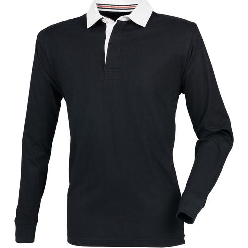 vaatteet Miehet Pitkähihainen poolopaita Front Row FR104 Black