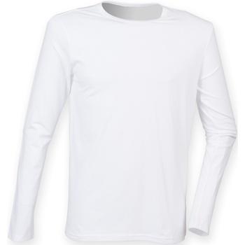 vaatteet Miehet T-paidat pitkillä hihoilla Skinni Fit SF124 White