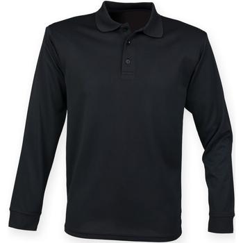 vaatteet Miehet Pitkähihainen poolopaita Henbury HB478 Black