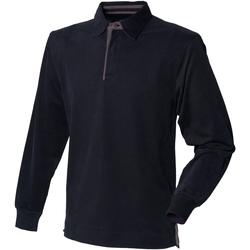 vaatteet Miehet Pitkähihainen poolopaita Front Row FR43M Black