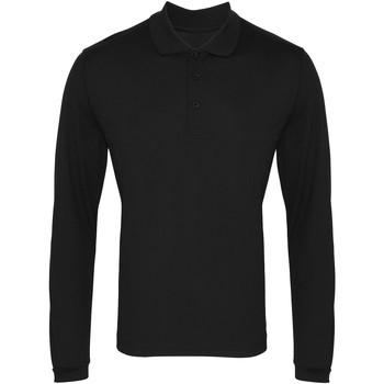 vaatteet Miehet Pitkähihainen poolopaita Premier PR617 Black