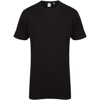 vaatteet Miehet Lyhythihainen t-paita Skinni Fit Dipped Hem Black