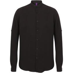 vaatteet Miehet Pitkähihainen paitapusero Henbury HB592 Black