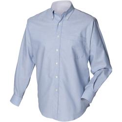 vaatteet Miehet Pitkähihainen paitapusero Henbury HB510 Blue