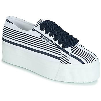 kengät Naiset Matalavartiset tennarit Superga 2790 COT MULTI STRIPE W White