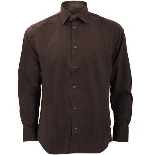 vaatteet Miehet Pitkähihainen paitapusero Russell 946M Chocolate