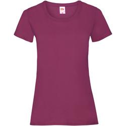 vaatteet Naiset Lyhythihainen t-paita Fruit Of The Loom 61372 Burgundy