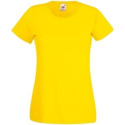 vaatteet Naiset Lyhythihainen t-paita Fruit Of The Loom 61372 Yellow