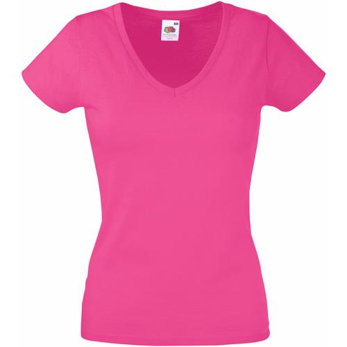 vaatteet Naiset Lyhythihainen t-paita Fruit Of The Loom 61398 Fuchsia