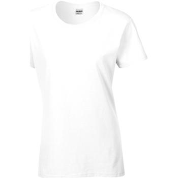 vaatteet Naiset Lyhythihainen t-paita Gildan Missy Fit White