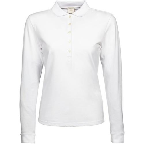 vaatteet Naiset Pitkähihainen poolopaita Tee Jays TJ146 White