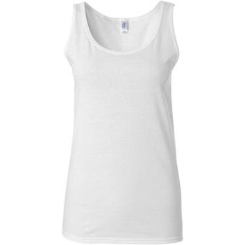 vaatteet Naiset Hihattomat paidat / Hihattomat t-paidat Gildan 64200L White